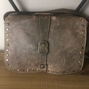 Patricia Nash Distressed Taupe Grey Crossbody